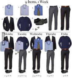 A good way to stay frugal and look good. 9 Pieces of clothing that make 5 different outfits for a full work week.