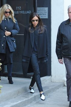 Victoria Beckham YSL oxfordsdark colors, pants at perfect length.