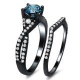 #blackengagementrings #blackdiamondgem 1.30ct Blue Round Diamond Engagement Ring Bridal Set 18K Black Gold Rhodium Plating Over White Gold With A .80ct Center Diamond and .50ct of Surrounding Diamonds by Front Jewelers - See more at: http://blackdiamondgemstone.com/jewelry/wedding-anniversary/bridal-sets/130ct-blue-round-diamond-engagement-ring-bridal-set-18k-black-gold-rhodium-plating-over-white-gold-with-a-80ct-center-diamond-and-50ct-of-surrounding-diamonds-com/#!prettyPhoto