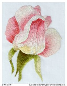 """""""Rose"""" by Chris Smith, South Cheshire branch of the Embroiderers' Guild. Part of the Landscapes and Gardens exhibition at Melton Carnegie Museum 5 April - 25 June 2016. Exhibition held as part of the UK's Capability Brown Festival"""