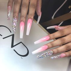 Acrylics are fake nails placed over your natural ones. Aycrlic Nails, Glam Nails, Classy Nails, Bling Nails, Junk Nails, Coffin Nails, Best Acrylic Nails, Acrylic Nail Designs, Fire Nails