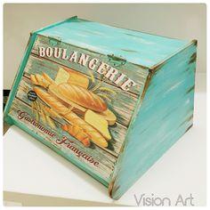 EKMEKLİK Egg Storage, Diy Kitchen Storage, Bread Boxes, Decoupage Box, Vintage Wood, Painting On Wood, Home Crafts, Thrifting, Decorative Boxes