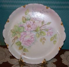 """Antique Haviland Limoges 12 1/2"""" Hand Painted Roses Plate Charger Artist Signed"""