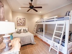 Guest BEdroom with Queen and Bunks for 4, flat screen TV, private bath with tub