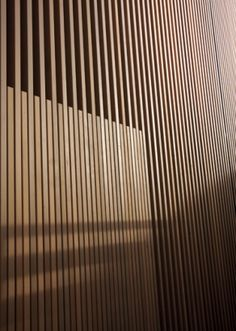 Can add height or width to room based on direction of wood r Timber Screens, Timber Slats, Timber Cladding, Wood Slat Wall, Wood Paneling, Wood Architecture, Architecture Details, Facade Design, Wall Design