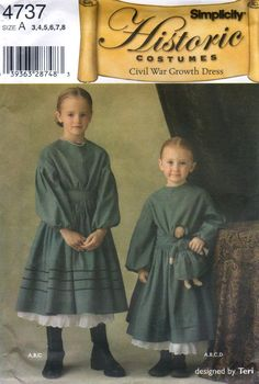 Simplicity 4737 Girls Civil War GROWTH DRESS Costume and Doll sewing pattern designed by Teri by mbchills