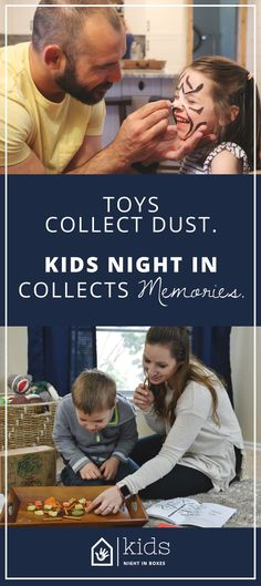 If your kids are like our kids, they have a bunch of toys they are into for about a week, the appeal wears off and the toys collect dust. We provide you with experiences that you and your children will share together. Every month, we will send you a box giving your special little one(s) the perfect Kids Night In. We sneak in a little learning, a get up and move around activity, a healthy snack, and more spontaneous fun, all to help make moments that will last a lifetime.