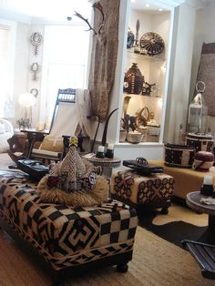 African Kuba cloth furniture and accessories. you could cover some stools etc with that fabric from zambia
