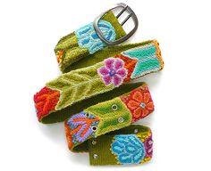 Belt hand embroidered Olive handmade belt floral by EmbroideryPeru