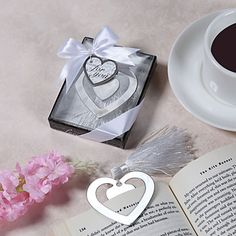 """""""Love Story"""" Metal Heart Shaped Bookmark With Tassel Wedding Favor – USD $ 1.99"""