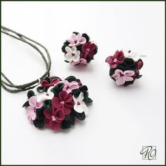 Polymer Clay Necklace and Earrings Pink - Polymer Clay Jewelry Set Tiny Flowers…