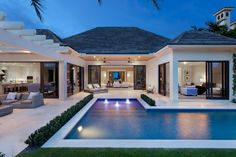 Architecture Homes Outdoor Photo Gallery U Shaped House Plans, U Shaped Houses, Pool House Plans, Dream House Plans, Florida House Plans, Dream Home Design, Modern House Design, Modern Pools, Dream House Exterior