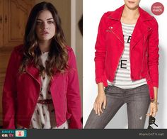 Aria's white butterfly print top and red moto jacket on Pretty Little Liars.  Outfit Details: http://wornontv.net/43032/ #PLL
