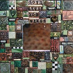 handmade polymer clay tile mosaic mirror