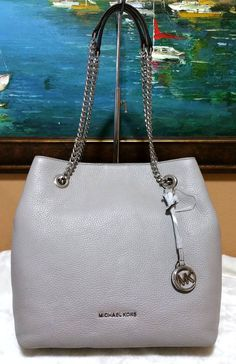 Michael Kors Jet Set Chain Large Leather Shoulder Tote Bag Pearl Grey  348   MichaelKors  ShoulderBag de7f34138c1