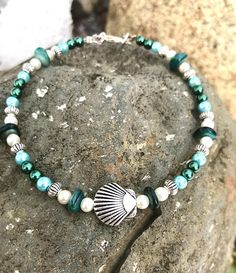 Natural Shell and Turquoise Nugget Anklet with Silver Plated Starfish Charm