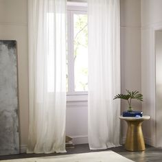 Master Bedroom Drape Option: Sheer Belgian Flax Linen Curtain - Ivory