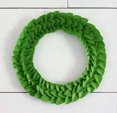 how to make a Frog Tape leaf wreath-would take forever but cute idea, i would probably use paper instead of tape.