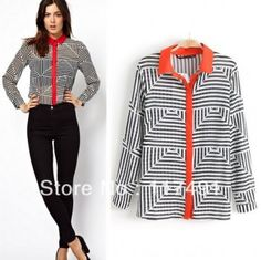 NEW SPRING AND AUTUMN FASHION HIT COLOR GEOMETRY STRIPE PRINT CHIFFON SHIRT RED COLLAR BLACK AND WHITE STRIPE BLOUSE 121
