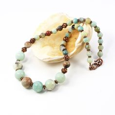 Copper And Amazonite Gemstone #Necklace For Women  #Amazonite #SolanaKaiDesigns @SolanaKaiDesign