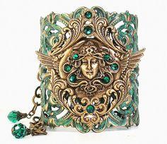 Flying Medusa Green Patina Cuff Bracelet  by LeBoudoirNoir on Etsy, €108.00