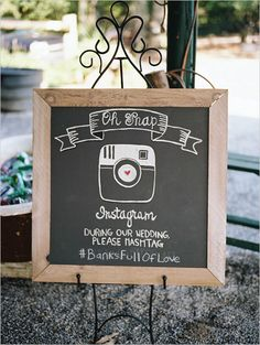 Cute wedding sign idea: chalkboard instagram sign