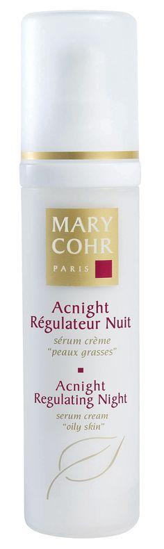 ACNIGHT RÉGULATEUR NUIT (50ml)  Das Serum wird als Intensivkur eingesetzt und abends aufgetragen. Es verschönert die Haut, stellt das natürliche Gleichgewicht der Bakterien wieder her, regelt die Talgproduktion, reduziert unschönen Hautglanz und zieht erweiterte Poren zusammen. Komplettpflege für fettige, unreine Haut.  http://www.best-kosmetik.de/marken/mary-cohr/unreine-haut/acnight-r-gulateur-nuit.html