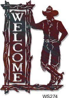 Ra Guthrie Cowboy Welcome Sign Scrap Metal Art, Metal Wall Art, Horse Silhouette, Silhouette Cameo, O Cowboy, Plasma Cutter Art, Gravure Illustration, Laser Cutter Ideas, Westerns