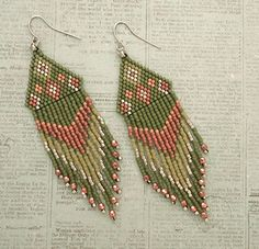 Linda's Crafty Inspirations: Native American Fringe Earrings - Asparagus & Copper