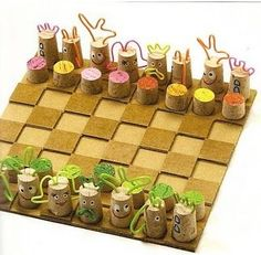 Board games are an excellent option, where the whole family can play … Creative Activities For Kids, Diy Crafts For Kids, Easy Crafts, Diy Cork, Cork Art, Wine Cork Crafts, Diy Games, Craft Fairs, Chess Pieces