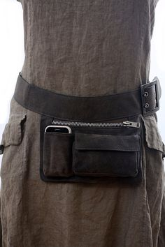 Gray Leather Hip Bag bum bag fanny pack travel pouch por RuthKraus