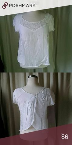 White open back t Perfect condition white open back t with lace neckline.  All proceeds help support women affected by breast and ovarian cancer aerie Tops Tees - Short Sleeve