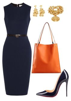 Navy sheath dress, gold accessories, but with lower heel pumps or flats. Office Attire, Work Attire, Mode Outfits, Fashion Outfits, Womens Fashion, Professional Outfits, Business Outfits, Work Wardrobe, Navy Dress