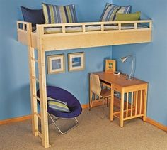 Check out these free DIY loft bed plans, so you can build a bed high above with room below for a desk, table, storage, or toys. Cool Loft Beds, Bunk Beds Small Room, Kids Bunk Beds, Small Rooms, Build A Loft Bed, Loft Bed Plans, Murphy Bed Plans, Cama Murphy, Bed Steps
