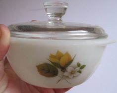 small VINTAGE pyrex butter dish Autumn Gold pattern lidded bowl on Etsy, $10.23