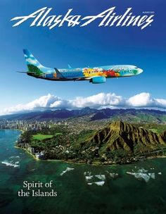The new Alaska Airlines plane with artwork designed by a Kaiser High School student! Alaska Airlines, Advertising Poster, Artwork Design, Oahu, Vintage Posters, Aviation, Aircraft, Vintage Airline, Neck Pillow