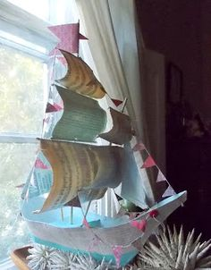 Made a boat inspired by Ann Wood's tutorial (http://www.annwood.net/blog/2009/12/11/paper-mache-boat-pattern/).  Made from 140 lb cold press watercolour paper, vintage and antique book pages, acrylic paints, decorative paper, bamboo skewers, thread.  You can see more at ACreativeDreamer.blogspot.com