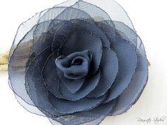 Wedding Hair Flower  Navy Blue Chiffon Flower by RainwaterStudios, $12.00
