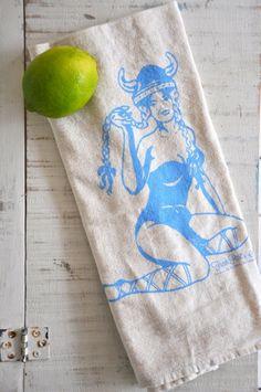 Tea Towel--Sexy Viking Vixen Screen Printed Natural Cotton -- Soft, Lint Free, Awesome.. $10.00, via Etsy.