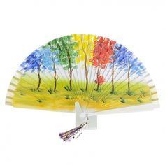 Hand Fan, Alonso, Home Appliances, Hand Fans, Long Gloves, Painted Fan, Kids Outfits, Blue Nails, Yellow