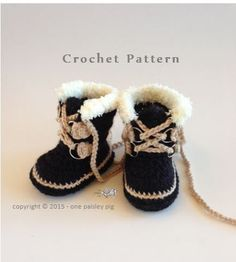 Baby's First Expedition Winter Boots Sorel Pacs StyleBaby & Adult Sizes - Sorel Pacs Style Winter Boots - Crochet Pattern This listing is for a crochet pattern only, not for finished items.Winter Boots Baby Girl Warm Shoes For Toddler Bowknot Soft So Crochet Baby Boots, Knit Crochet, Baby Booties, Baby Shoes, Baby Patterns, Crochet Patterns, Knitting Patterns, Knitting Projects, Häkelanleitung Baby