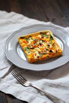 Rezept für Kürbistarte mit Feta und Spinat | Pumpkin Tarte Recipe