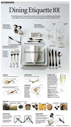 Algunas reglas de etiqueta para Cenar #DiningEtiquette