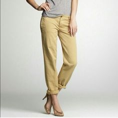 On Sale!! J.Crew Broken in Boyfriend chinos Gray chinos, size 6, intentionally distressed by J.Crew to give it that worn in look. They are in great condition. Look great cuffed and worn boyfriend style or uncuffed with flats or flip flops. A wardrobe staple! First picture is for fit example, color is as pictured in the other three pictures. J. Crew Pants Trousers