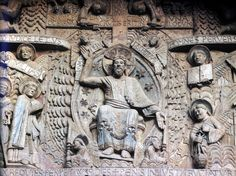 Saint Foy Abbey Church View of Tympanum Last Judgement detail Relief Sculpture, ca. 1125-50 Conques, France