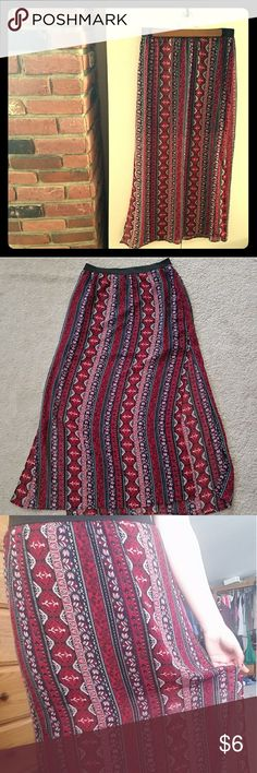 Patterned Maxi Skirt w/ side slits H&M Divided maxi skirt. Only tried on. Has floral and paisley print stripes and is black, red, blue, and white! Stretchy elastic waist. A bit sheer with a black inner skirt. Very lightweight! Divided Skirts Maxi