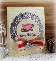 Hand made holiday card by Julee Tilman using the Cup of Kindness digital set from Verve. #vervestamps