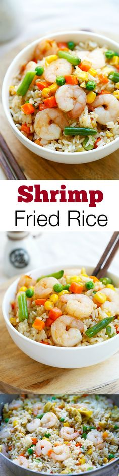 hrimp fried rice – the easiest shrimp fried rice recipe, takes only 20 mins from prep to dinner table. Healthier and a zillion times better than takeout | rasamalaysia.com
