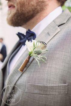 Great idea for a boutonniere!   Southern Wedding   Charleston SC Wedding   Liz Duren Photography