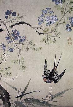(Korea) 연비문행 by Shim Sa-jeong (1707- 1769). aka Hyeonjae. color on silk. Gansong gallery, Korea.
